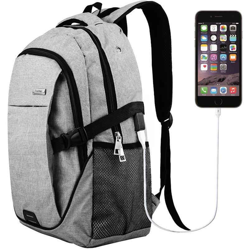 Laptop Backpack Travel Accessories Daypack for Men Women,Large Lightweight School College Book bag with Computer Notebook Sleeves and usb Charging Port for Business Hiking Traveling Airplane Backpacks. Image via Amazon.