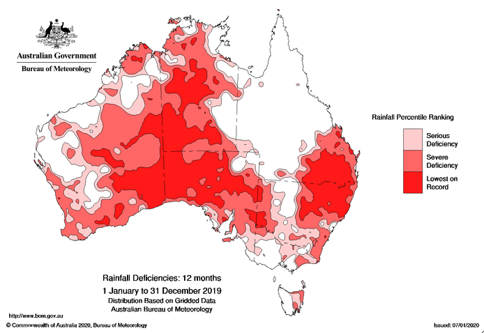 About 25 per cent of Australia suffered its lowest rainfall on record in 2019. Source: BOM