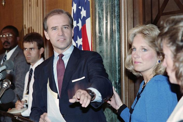 "<div class=""inline-image__caption""> <p>Joe Biden announces he is withdrawing from the race for the 1988 Democratic presidential nomination.</p> </div> <div class=""inline-image__credit""> Jerome Delay/AFP via Getty </div>"