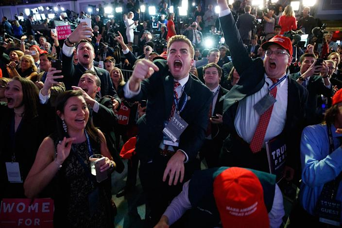 <p>NOV. 8, 2016. Supporters of Republican presidential candidate Donald Trump cheer as they watch election returns during an election night rally in New York. (AP Photo/ Evan Vucci) </p>