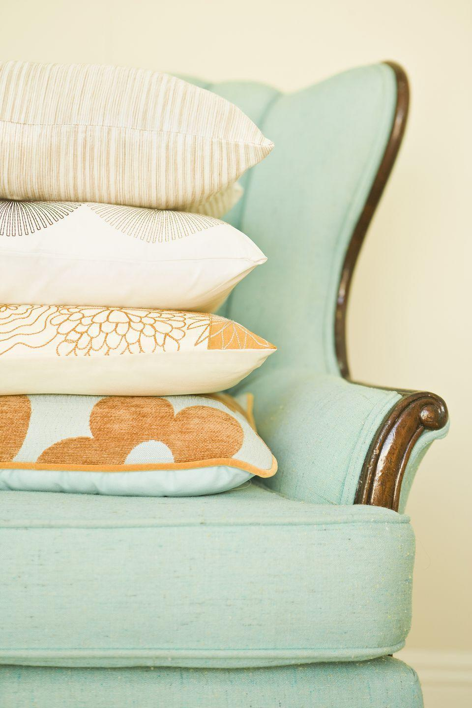 """<p>Bringing home any sort of used textile or item covered with fabric puts you at risk for a bed bug infestation. In fact, bed bugs can survive up to one year in upholstered pieces, according to the <a href=""""http://pods.dasnr.okstate.edu/docushare/dsweb/Get/Document-9913/T-4421web.pdf"""" rel=""""nofollow noopener"""" target=""""_blank"""" data-ylk=""""slk:Division of Agricultural Sciences and Natural Resources at Oklahoma State University"""" class=""""link rapid-noclick-resp"""">Division of Agricultural Sciences and Natural Resources at Oklahoma State University</a>. And with cute throw pillows available for just $10-$20 on <a href=""""https://www.target.com/s?searchTerm=throw+pillows"""" rel=""""nofollow noopener"""" target=""""_blank"""" data-ylk=""""slk:Target.com"""" class=""""link rapid-noclick-resp"""">Target.com</a> and <a href=""""https://www.amazon.com/Throw-Pillows-Accent-Decorative-Inserts-Covers/s?tag=syn-yahoo-20&ascsubtag=%5Bartid%7C10063.g.36459940%5Bsrc%7Cyahoo-us"""" rel=""""nofollow noopener"""" target=""""_blank"""" data-ylk=""""slk:Amazon.com"""" class=""""link rapid-noclick-resp"""">Amazon.com</a>, it's both affordable and wise to go for something new. </p>"""
