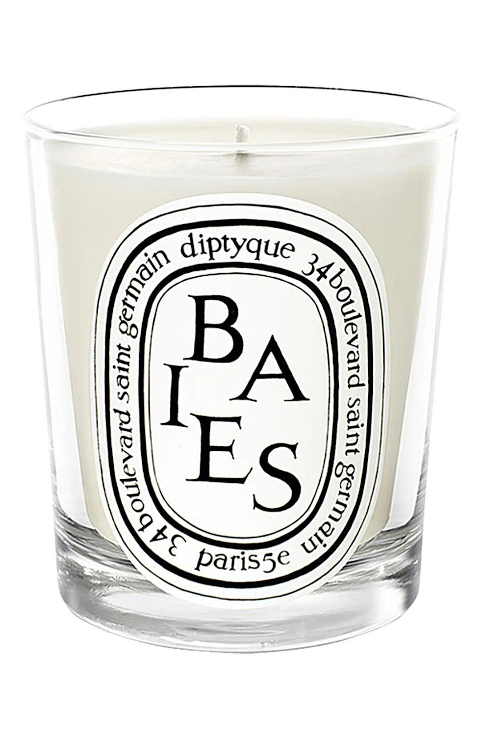 <p>While you're at it, light a candle to give yourself some aromatherapy. We love this mini <span>Diptyque Baies Candle</span> ($36).</p>