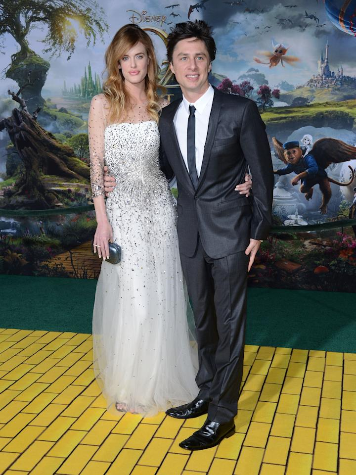 "HOLLYWOOD, CA - FEBRUARY 13:  Taylor Bagley and actor Zach Braff attend the Premiere Of Walt Disney Pictures' ""Oz The Great And Powerful"" at the El Capitan Theatre on February 13, 2013 in Hollywood, California.  (Photo by Jason Kempin/Getty Images)"
