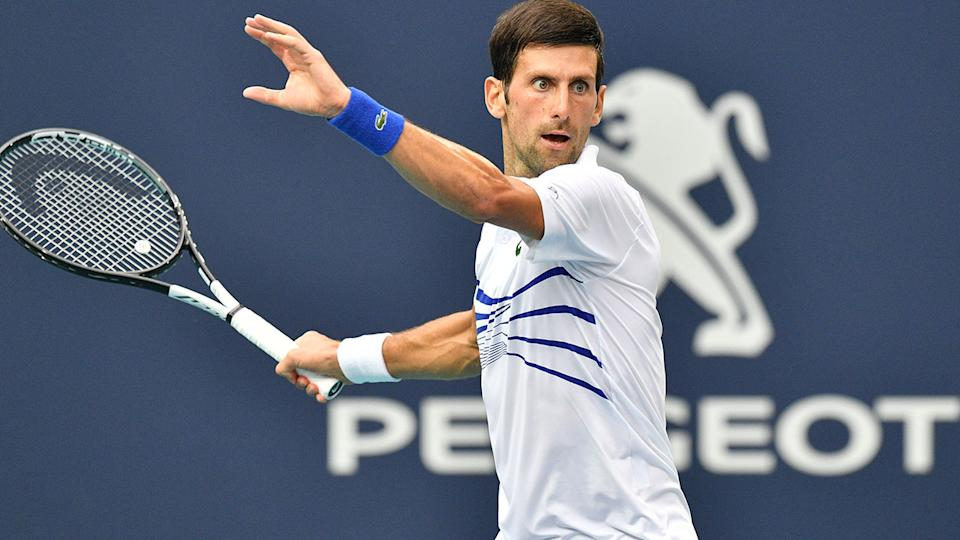 Novak Djokovic, pictured here in action at the Miami Open in 2019.