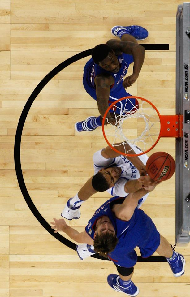 Anthony Davis #23 of the Kentucky Wildcats goes up for a shot in the lane against Jeff Withey #5 of the Kansas Jayhawks in the National Championship Game of the 2012 NCAA Division I Men's Basketball Tournament at the Mercedes-Benz Superdome on April 2, 2012 in New Orleans, Louisiana. (Photo by Chris Graythen/Getty Images)