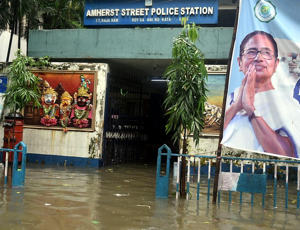 """<div class=""""paragraphs""""><p>Waterlogged Amherst Street police station after heavy rainfall in Kolkata on Monday, 20 September.</p></div>"""