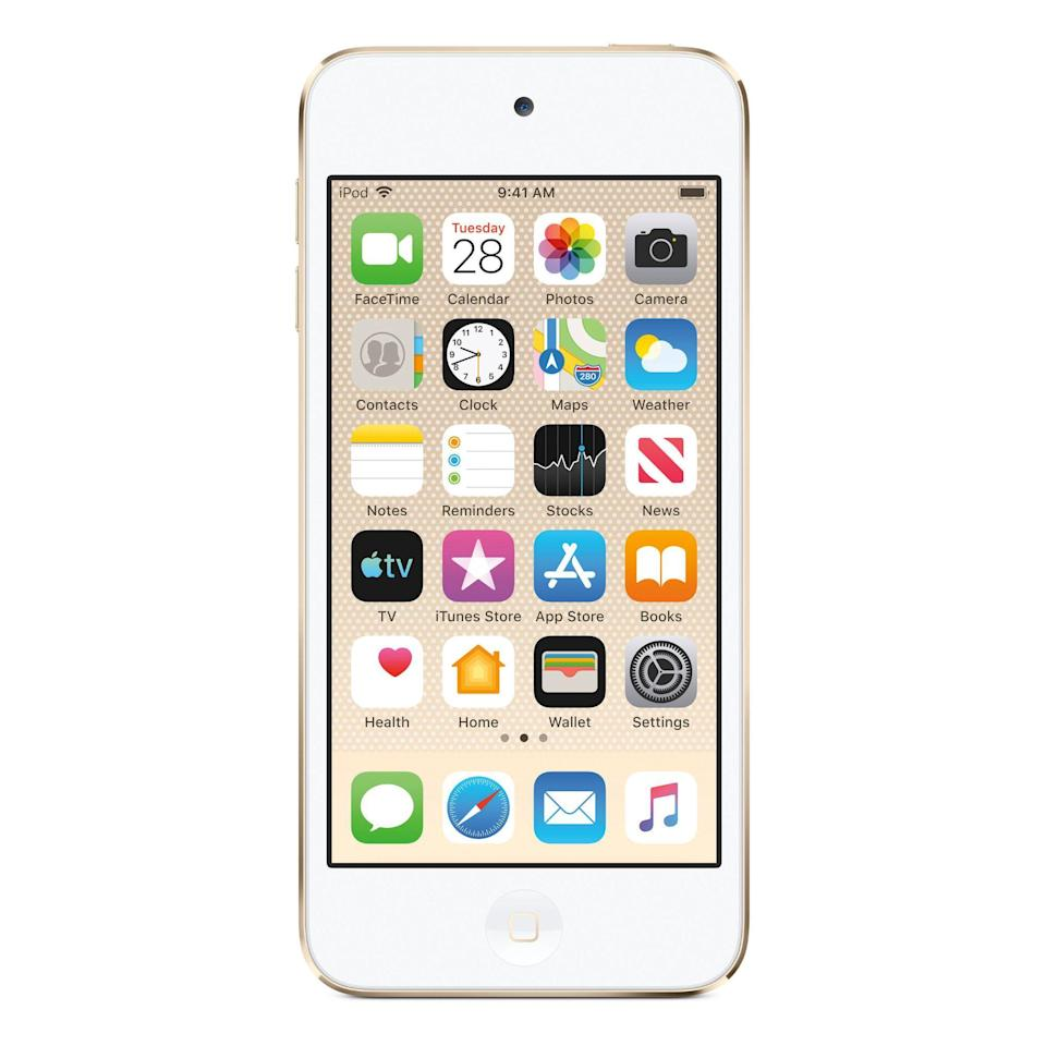 """<p><strong>Apple</strong></p><p>amazon.com</p><p><strong>$189.95</strong></p><p><a href=""""https://www.amazon.com/dp/B07SFRJ8Y7?tag=syn-yahoo-20&ascsubtag=%5Bartid%7C2089.g.1064%5Bsrc%7Cyahoo-us"""" rel=""""nofollow noopener"""" target=""""_blank"""" data-ylk=""""slk:Shop Now"""" class=""""link rapid-noclick-resp"""">Shop Now</a></p><p>Apple's latest iPod touch is equipped with the same A10 Fusion chip as the iPhone 7 and iPhone 7 Plus, a 4-inch Retina touch screen, an 8 MP camera, and Apple iOS, the device can do a whole lot more than play your MP3 collection. </p><p>Apple iOS is what sets the iPod touch apart from all competitors. The tech giant's mobile platform will give you access to a vast selection of high-quality apps and games, including access to all major music and video streaming services. Save for making phone calls, the media player will deliver an iPhone-like experience, including the ability to FaceTime and iMessage people. </p><p>Thanks to its powerful chip, the iPad touch can also entertain you with augmented reality apps. Review editors from <a href=""""https://www.pcmag.com/review/368925/apple-ipod-touch-2019"""" rel=""""nofollow noopener"""" target=""""_blank"""" data-ylk=""""slk:PCMag"""" class=""""link rapid-noclick-resp""""><em>PCMag</em></a> and <a href=""""https://www.techradar.com/reviews/ipod-touch-7th-generation"""" rel=""""nofollow noopener"""" target=""""_blank"""" data-ylk=""""slk:TechRadar"""" class=""""link rapid-noclick-resp"""">TechRadar</a> praised the gadget of offering a reasonably-priced gateway to Apple's mobile platform. <br><br>The iPod touch has a standard audio jack, and it comes bundled with Apple's iconic EarPods. There are six color variants (pink, blue, gold, red, silver, and space gray) and three storage options to select from (32, 128, and 256 GB). We highly suggest that you avoid the entry-level one.</p>"""