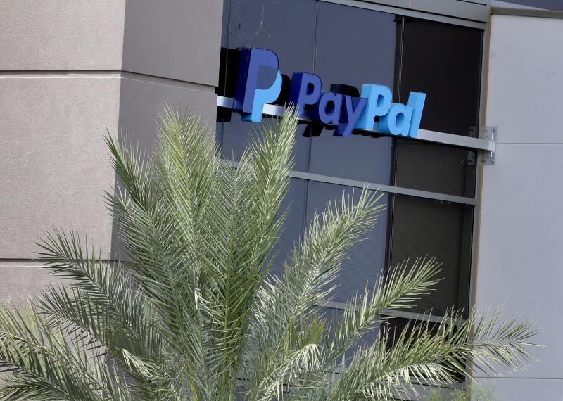 A PayPal call center is shown Wednesday, July 17, 2019 in Chandler, Ariz. (AP Photo/Matt York)