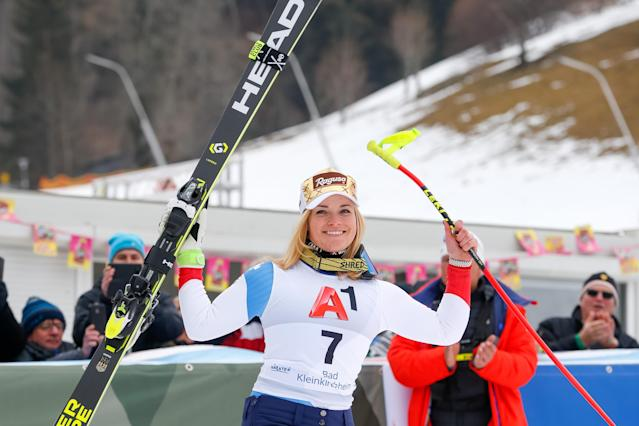 <p>Lara Gut of Switzerland takes 2nd place during the Audi FIS Alpine Ski World Cup Women's Super G on January 13, 2018 in Bad Kleinkirchheim, Austria. (Photo by Christophe Pallot/Agence Zoom/Getty Images) </p>