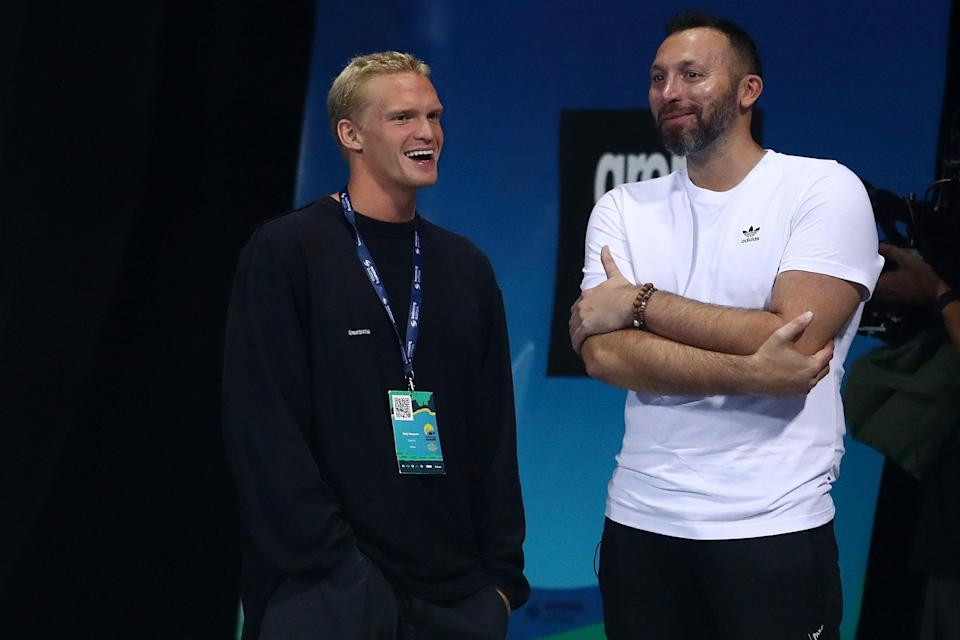 Cody Simpson and Ian Thorpe talk during the 2021 Australian Swimming Championships at the Gold Coast Aquatic Centre on April 15, 2021 in Gold Coast, Australia.  (Getty Images)