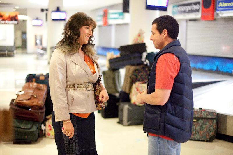 """In this image released by Sony Pictures, Adam Sandler portrays both Jill, left, and Jack in a scene from """"Jack & Jill."""" Sandler shattered the record for most nominations ever at the Razzies, an Academy Awards spoof that singling out the worst movies of the year. His 11 nominations Saturday included worst actor for both """"Jack and Jill"""" and """"Just Go with It"""" _ along with worst actress for """"Jack and Jill,"""" in which he plays a family man and his own twin sister. (AP Photo/Sony - Columbia Pictures, Tracy Bennett)"""