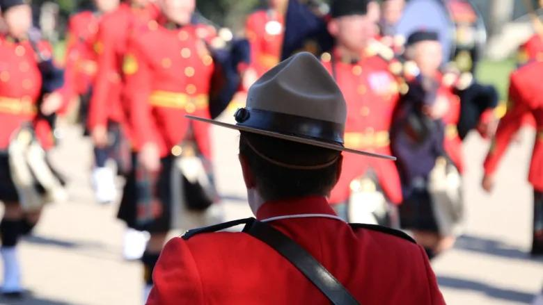 An officer takes position during the change of command ceremony on September 6, 2018 for new commissioner Brenda Lucki at the RCMP Heritage Centre in Regina. (Olivia Stefanovich/CBC)