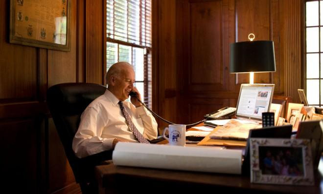 Biden at his home office in Wilmington, Del.