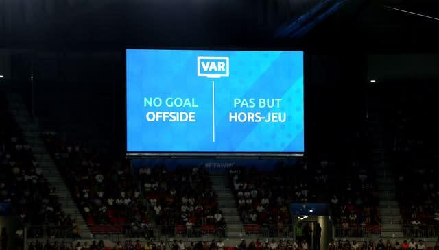The VAR screen shows that Ellen White's goal against the US at the World Cup had been ruled out (Richard Sellers/PA)