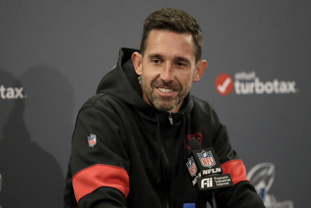 San Francisco 49ers coach Kyle Shanahan smiles while speaking during a news conference Friday, Jan. 17, 2020, in Santa Clara, Calif. The 49ers are scheduled to host the Green Bay Packers in NFL football's NFC championship game Sunday. (AP Photo/Ben Margot)
