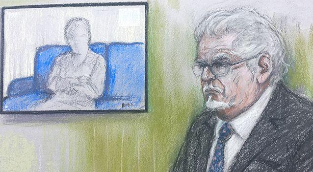 Pictured: A court artist sketch of Rolf Harris in the dock at Southwark Crown Court in London, where an alleged victim appeared via video link. Photo: Elizabeth Cook / PA Wire