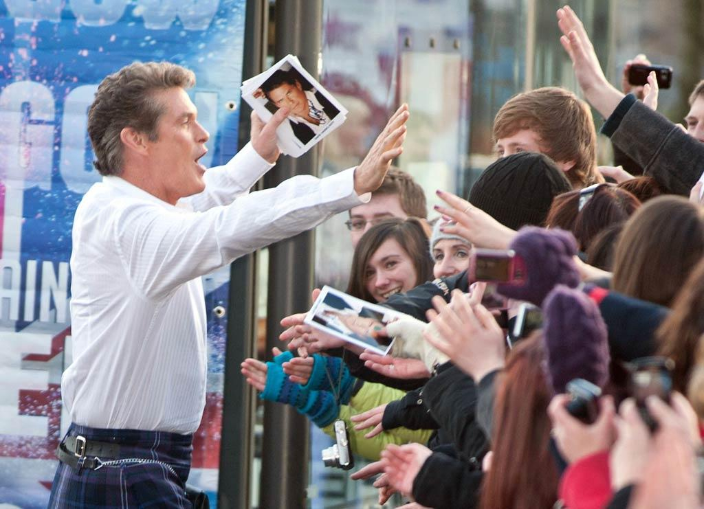 """The Hoff sported a traditional kilt for the occasion. We knew he was big in Germany, but who knew he had so many Scottish admirers? <a href=""""http://www.PacificCoastNews.com"""" target=""""new"""">PacificCoastNews.com</a> - January 18, 2011"""