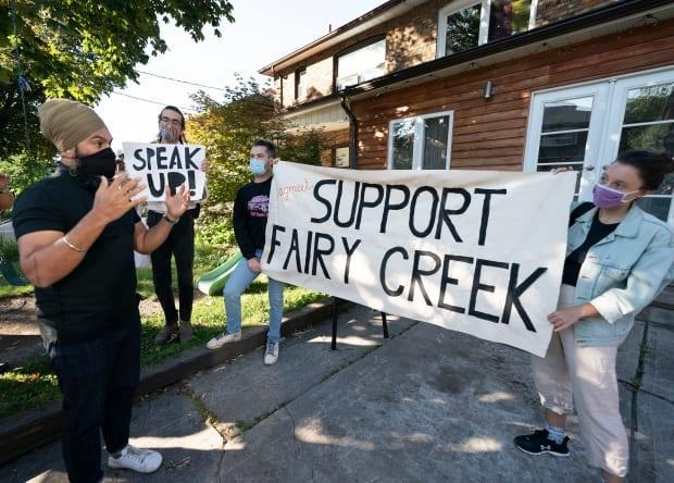 NDP Leader Jagmeet Singh speaks with Fairy Creek protesters following a morning media availability in Toronto on Thursday. They challenged him to take a firm stance against old-growth logging.  (Jonathan Hayward/Canadian Press - image credit)