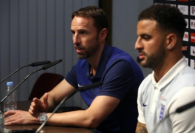 Kyle Walker, right, with Gareth Southgate