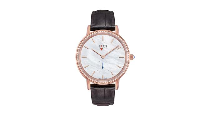 "<p>The Ace, $795, <a href=""https://www.jacywatches.com/collections/watches/products/jacy-watch-35mm-diamond-bezel-rg-with-pearlize-brown-croco-calf-strap"" rel=""nofollow noopener"" target=""_blank"" data-ylk=""slk:jacywatches.com"" class=""link rapid-noclick-resp"">jacywatches.com</a> </p>"