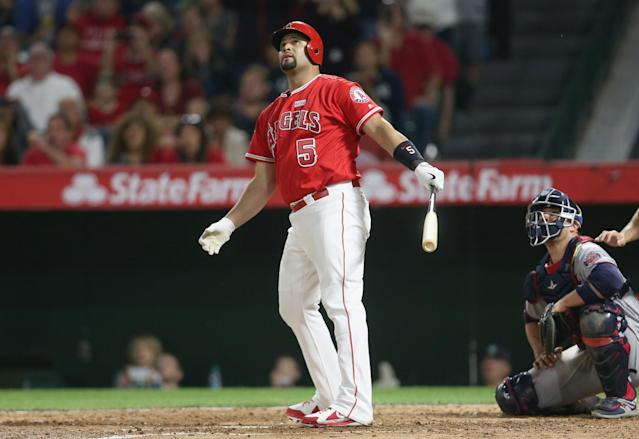 Albert Pujols has hit 155 home runs since joining the Angels in 2012. (Getty Images)
