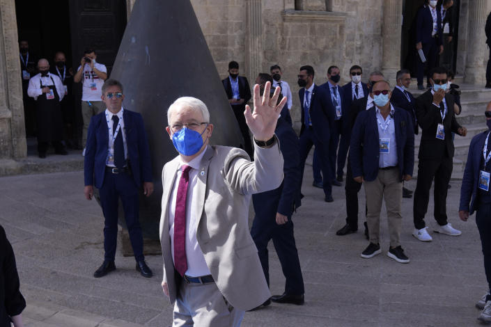 Canada' Foreign Minister Marc Garneau arrives in Matera, Italy, for a G20 foreign affairs ministers' meeting Tuesday, June 29, 2021.(AP Photo/Antonio Calanni)