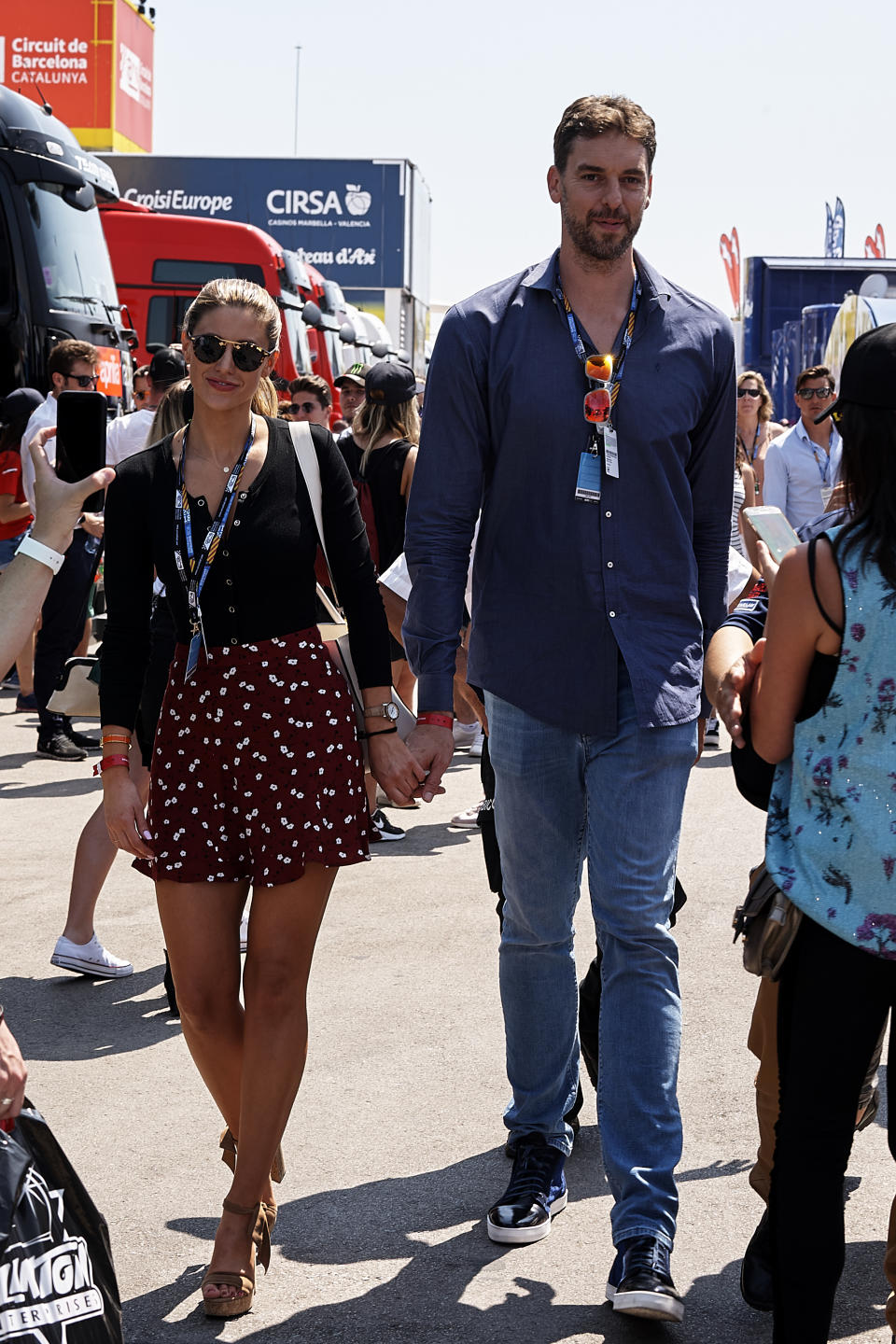 Pau Gasol and his girlfriend Catherine McDonnell during the qualifying of the Gran Premi Monster Energy de Catalunya, Circuit of Catalunya, Montmelo, Spain.On 16 june of 2018. (Photo by Jose Breton/NurPhoto via Getty Images)