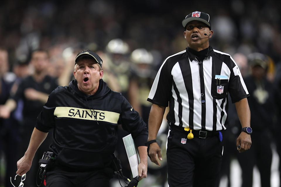 """Saints Got Robbed"" billboards popped up in Atlanta ahead of the Super Bowl, a reminder of the blatant no-call that likely cost the Saints the NFC championship game on Sunday. (Chris Graythen/Getty Images)"