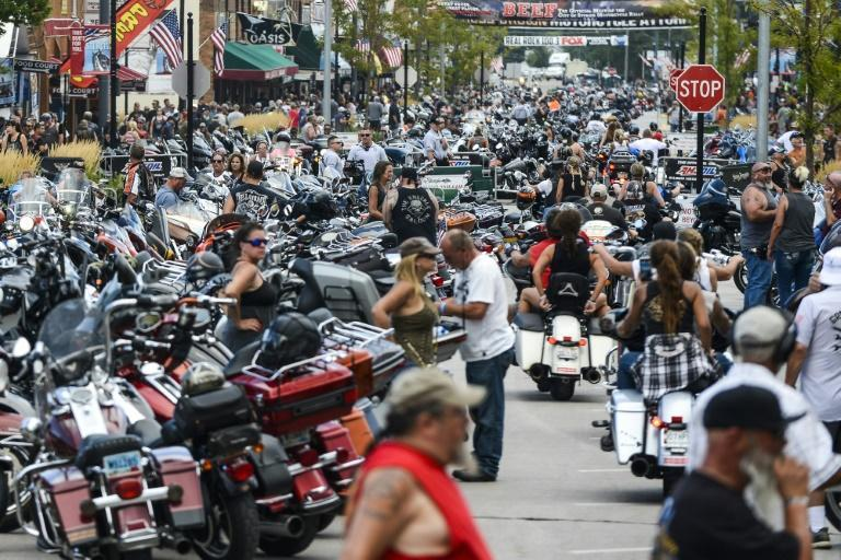 Motorcyclists, some coming from hundreds of miles away, fill the streets of Sturgis, South Dakota, as part of a huge cycle rally