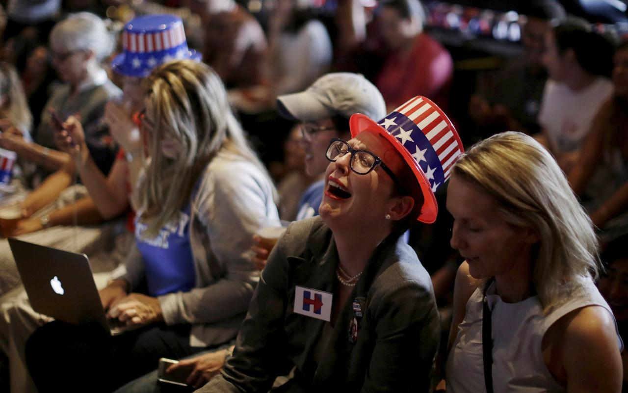 Supporters of U.S Democratic Presidential candidate Hillary Clinton react as a state is called in favour of her opponent, Republican candidate Donald Trump, during a watch party for the U.S. Presidential election, at the University of Sydney in Australia, November 9, 2016.