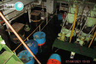 FILE - In this photo released by Nournews April 8, 2021, shows the flooded engine room of the Iranian ship MV Saviz, said to serve as a floating base for its paramilitary Revolutionary Guard, after being attacked in Red Sea off Yemen. A first round of direct talks held in April 2021, in Iraq, between regional rivals Saudi Arabia and Iran is seen as a positive sign of de-escalation following years of animosity that has often spilled over into neighboring countries and a still-raging war in Yemen. (Nournews via AP, File)