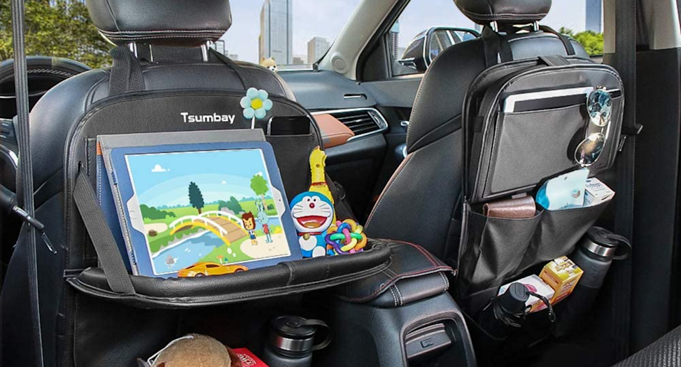 The Tsumbay Car Organizer adds extra storage space to any car. Image via Amazon.