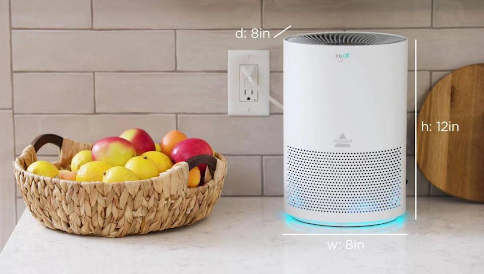 <p>This <span>Bissell My Air Personal Air Purifier</span> ($90) is made with a 3-in-1 filtration system. It has a pre-filter which catches larger particles, and both an activated carbon and high efficiency filter that help 99.7% of harmful airborne particles.</p>