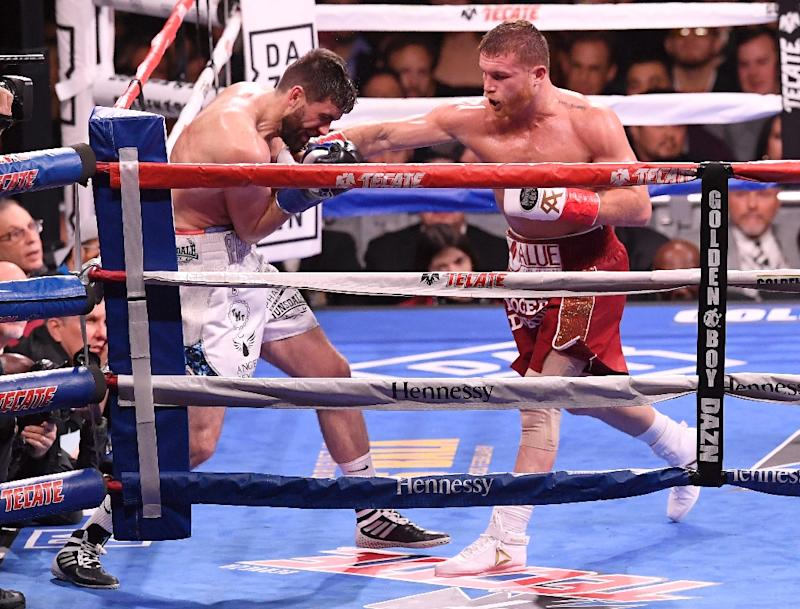"""Saul """"Canelo"""" Alvarez during his victory over Briton Rocky Fielding in New York last month"""