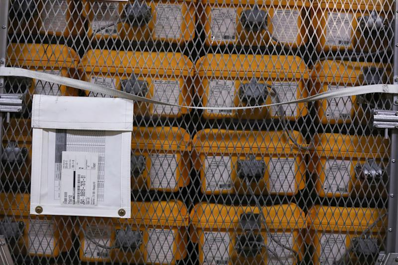 Ventilators lie at the New York City Emergency Management Warehouse before being shipped out for distribution due to concerns over the rapid spread of coronavirus disease (COVID-19) in New York City, U.S., March 24, 2020. (Caitlin Ochs/Reuters)