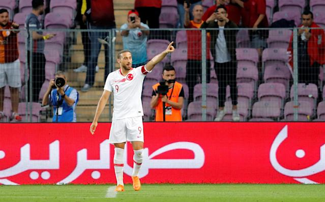 Soccer Football - International Friendly - Tunisia vs Turkey - Stade de Geneve, Geneva, Switzerland - June 1, 2018 Turkey's Cenk Tosun celebrates scoring their first goal REUTERS/Denis Balibouse