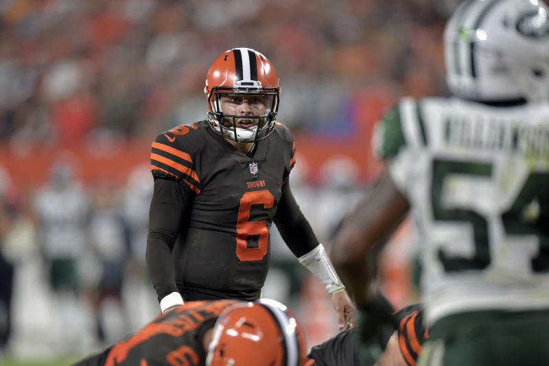 He's their guy: It didn't take long for then-rookie Baker Mayfield to endear himself to the team's offensive linemen. (AP)