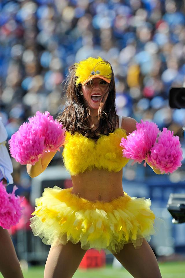 Oct 28, 2012; Nashville, TN, USA; Tennessee Titans cheerleaders entertain fans during a first half time out against the Indianapolis Colts at LP Field. Indianapolis defeated Tennessee 19-13 in overtime. Mandatory Credit: Jim Brown-US PRESSWIRE