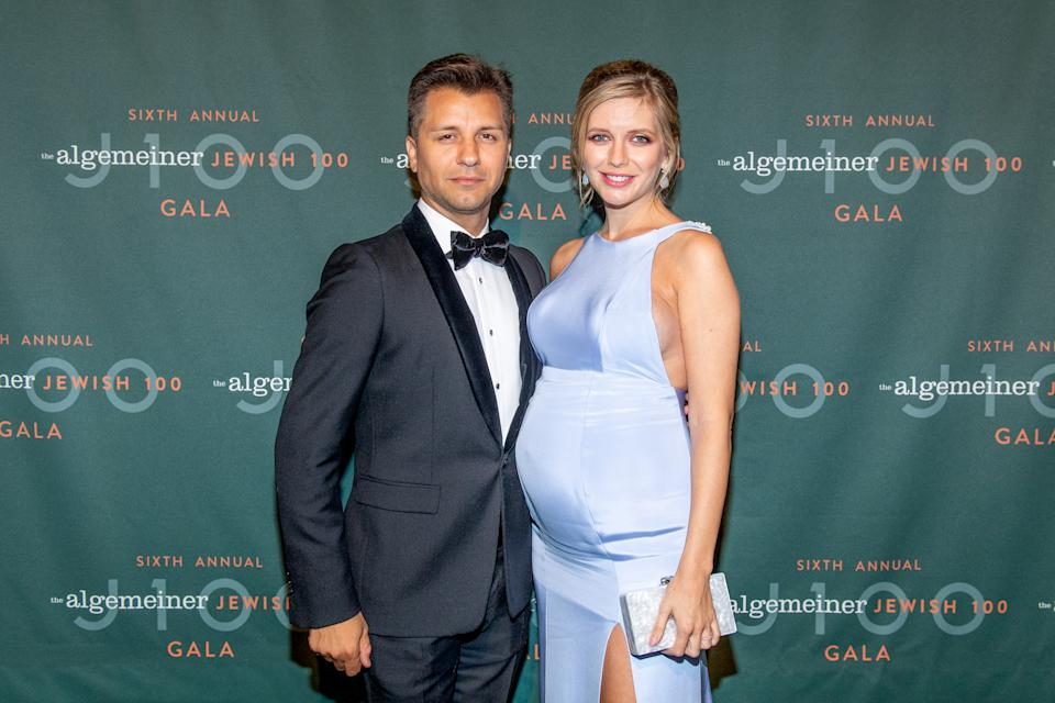 NEW YORK, NEW YORK - SEPTEMBER 26: Pasha Kovalev with TV personality Rachel Riley attends the 6th Annual Algemeiner J100 Gala at Gotham Hall on September 26, 2019 in New York City. (Photo by Roy Rochlin/Getty Images)