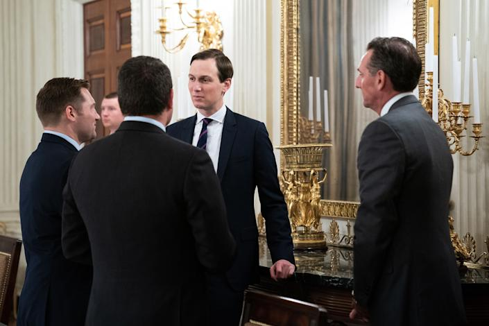 Jared Kushner. My man. Do you really want to stand so close to these guys? (Photo: Pool via Getty Images)