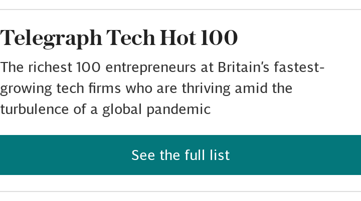 Telegraph Tech 100 2020: see the full list