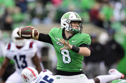 Marshall Thundering Herd quarterback Grant Wells (8) makes a pass during an NCAA football game against the Florida Atlantic Owls on Saturday, Oct. 24, 2020 in Huntington, W.VA. (AP Photo/Emilee Chinn)