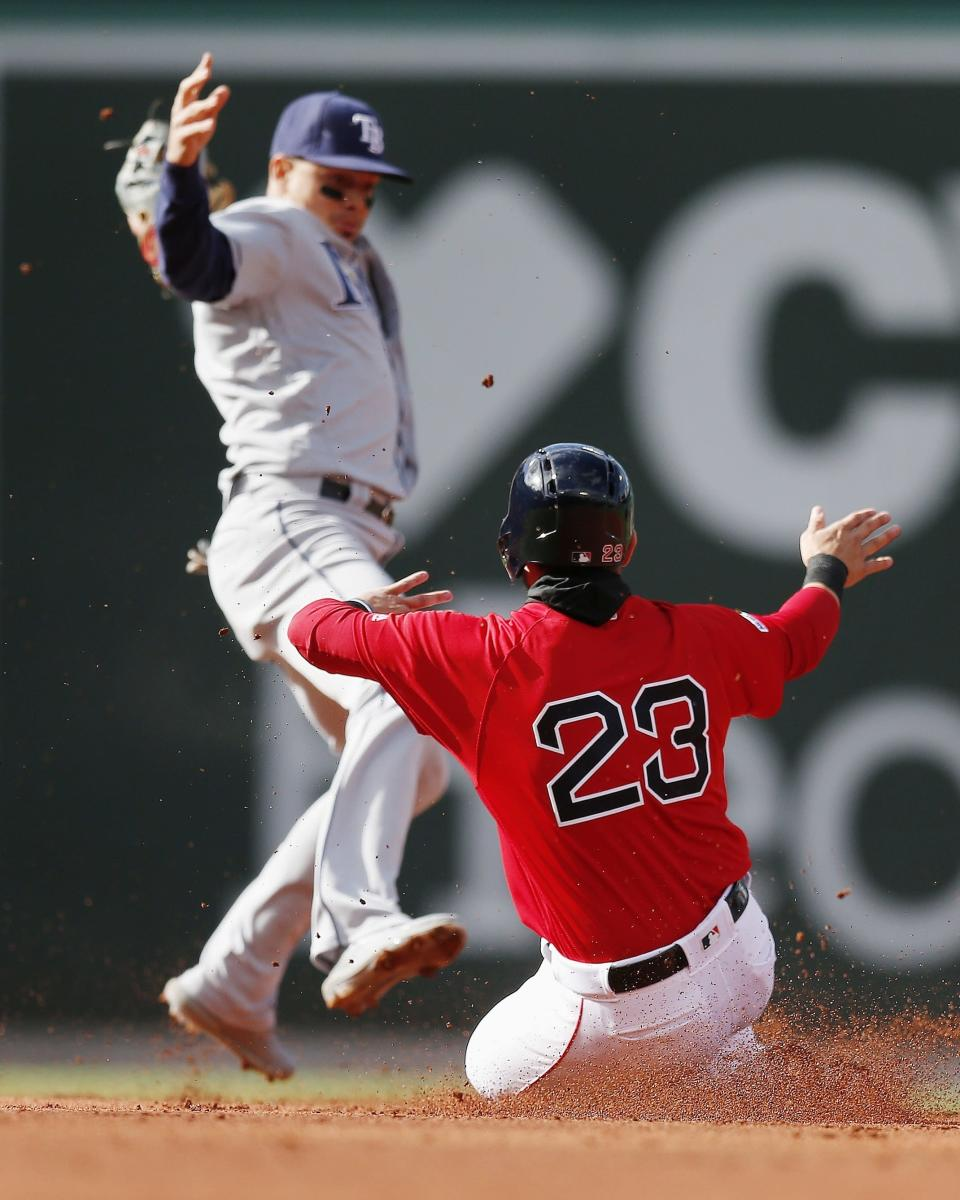 Boston Red Sox's Michael Chavis (23) beats the force out at second base by Tampa Bay Rays' Willy Adames, left, on a fielder's choice hit by Steve Pearce during the second inning of a baseball game in Boston, Saturday, April 27, 2019. (AP Photo/Michael Dwyer)