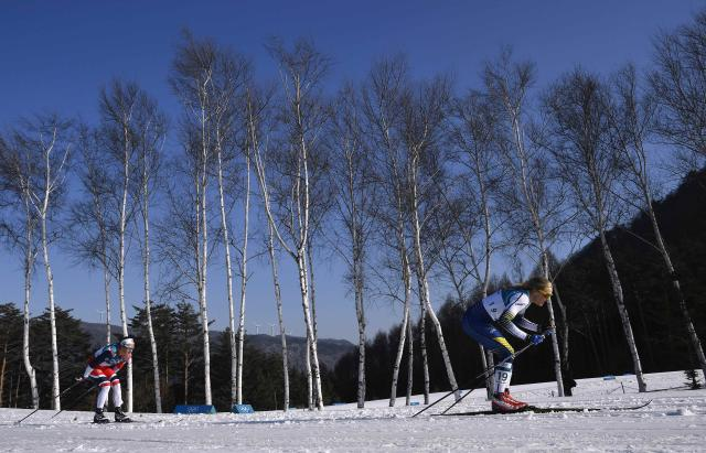 Cross-Country Skiing - Pyeongchang 2018 Winter Olympics - Women's 30km Mass Start Classic - Alpensia Cross-Country Skiing Centre - Pyeongchang, South Korea - February 25, 2018 - Stina Nilsson of Sweden competes. REUTERS/Toby Melville
