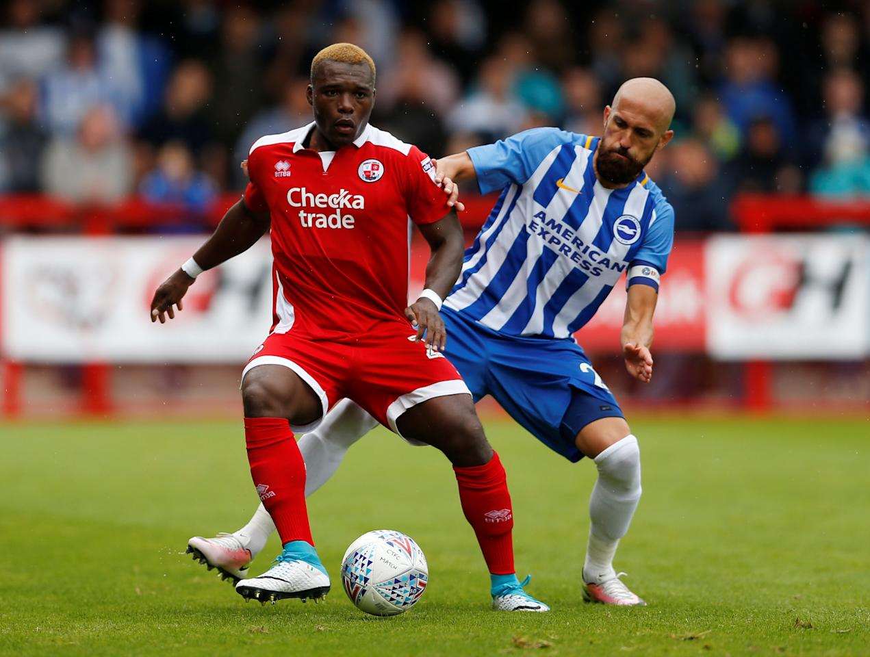 Soccer Football - Crawley Town vs Brighton & Hove Albion - Pre Season Friendly - June 22, 2017   Brighton & Hove Albion's Bruno in action with Crawley Town's Moussa Sanoh   Action Images via Reuters/Matthew Childs