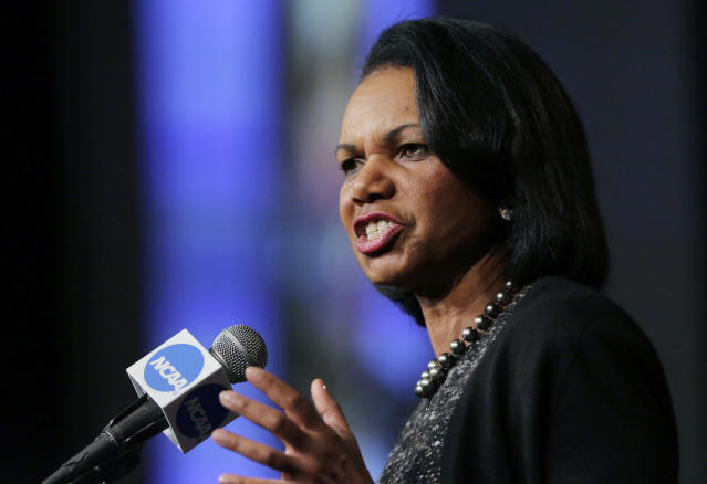 "FILE - In this Jan. 14, 2016, file photo, former Secretary of State Condoleeza Rice speaks during a luncheon at the NCAA Convention in San Antonio. College basketball spent an entire season operating amid a federal corruption investigation that magnified long-simmering problems within the sport, from unethical agent conduct to concerns over the ""one-and-done"" model. On Wednesday morning, April 25, 2018, the commission headed by Condoleezza Rice will present its proposed reforms to university presidents of the NCAA Board of Governors and the Division I Board of Directors at the NCAA headquarters in Indianapolis.(AP Photo/Eric Gay, File)"