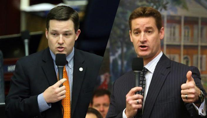 Florida state Rep. Jake Raburn, R-Lithia, and Florida state Sen. Greg Steube, R-Sarasota. (Photos: Steve Cannon, Scott Keeler/Tampa Bay Times/ZumaPress.com)