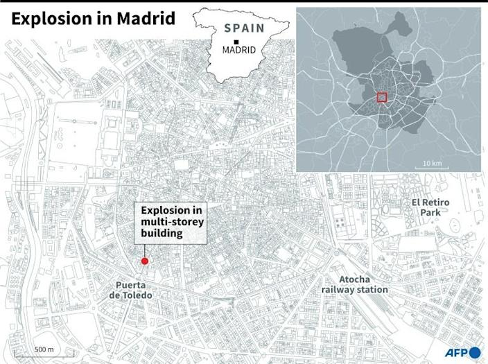 Map of Madrid locating a multi-storey building which hit by a deadly explosion on Wednesday