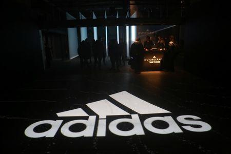 An Adidas logo is seen at the new Futurecraft shoe unveiling event in New York City
