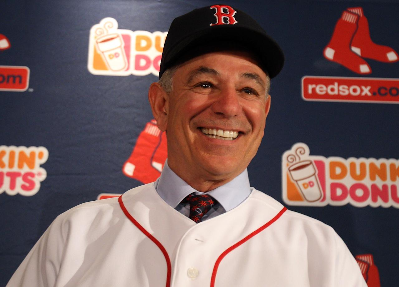 BOSTON, MA - DECEMBER 01:  Bobby Valentine is introduced as the new manager for the Boston Red Sox during a press conference on December 1, 2011 at Fenway Park in Boston, Massachusetts.  (Photo by Elsa/Getty Images)